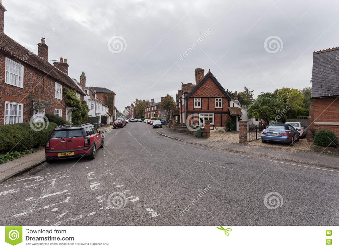 Winslow, Buckinghamshire, United Kingdom, October 25, 2016: Brick houses and cottages on the Horn street on grey chilly morning.