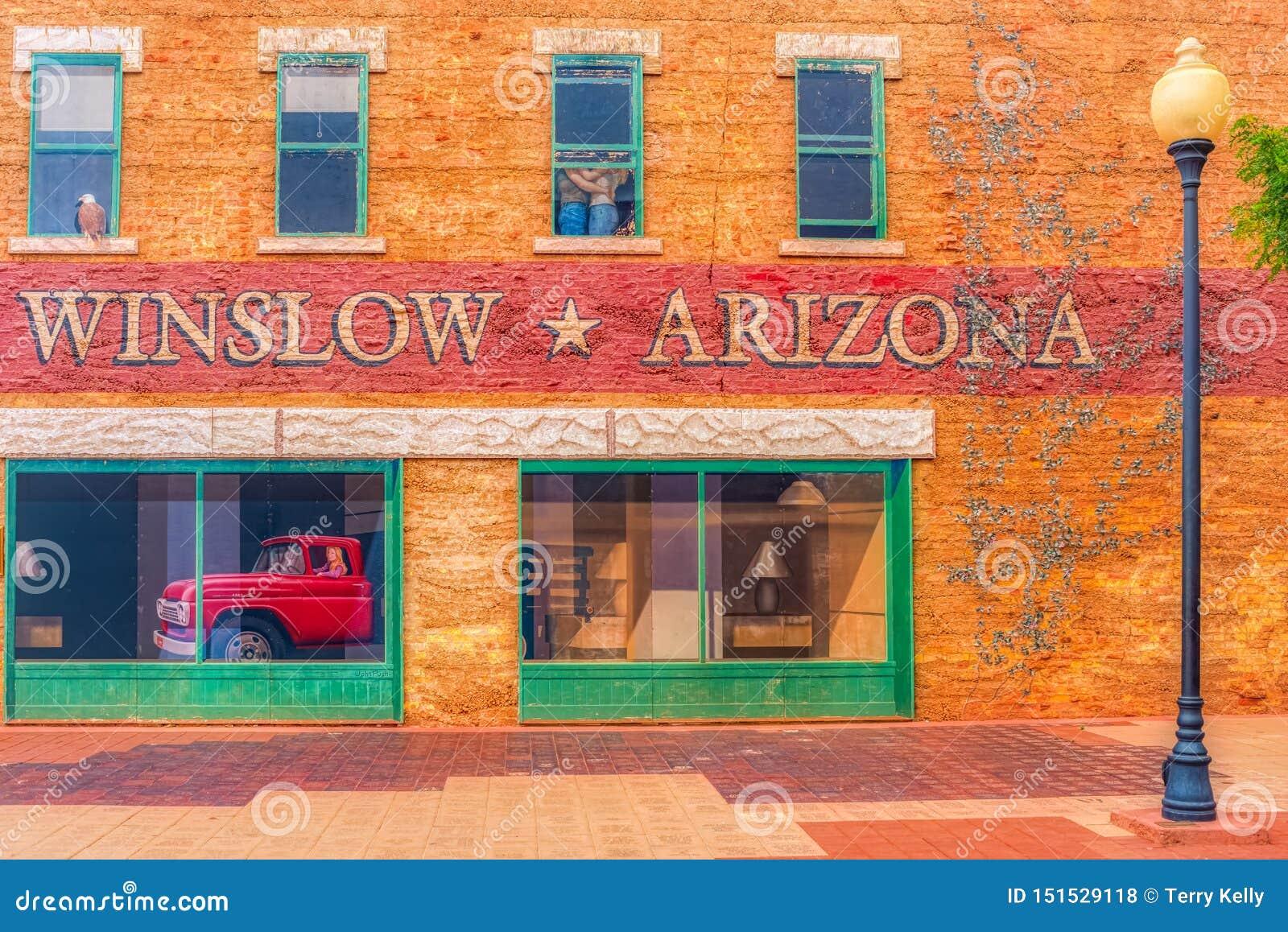 Winslow o Arizona da águia dos pares do caminhão da arte da janela