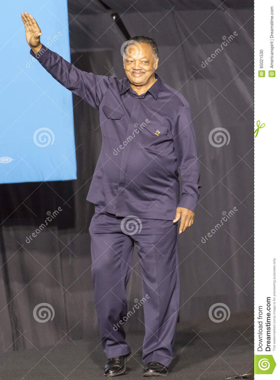 WINSTON-SALEM, NC - OCTOBER 27 , 2016: Civil Rights legend Jessie Jackson appears at a Hillary Clinton and Michelle Obama presiden