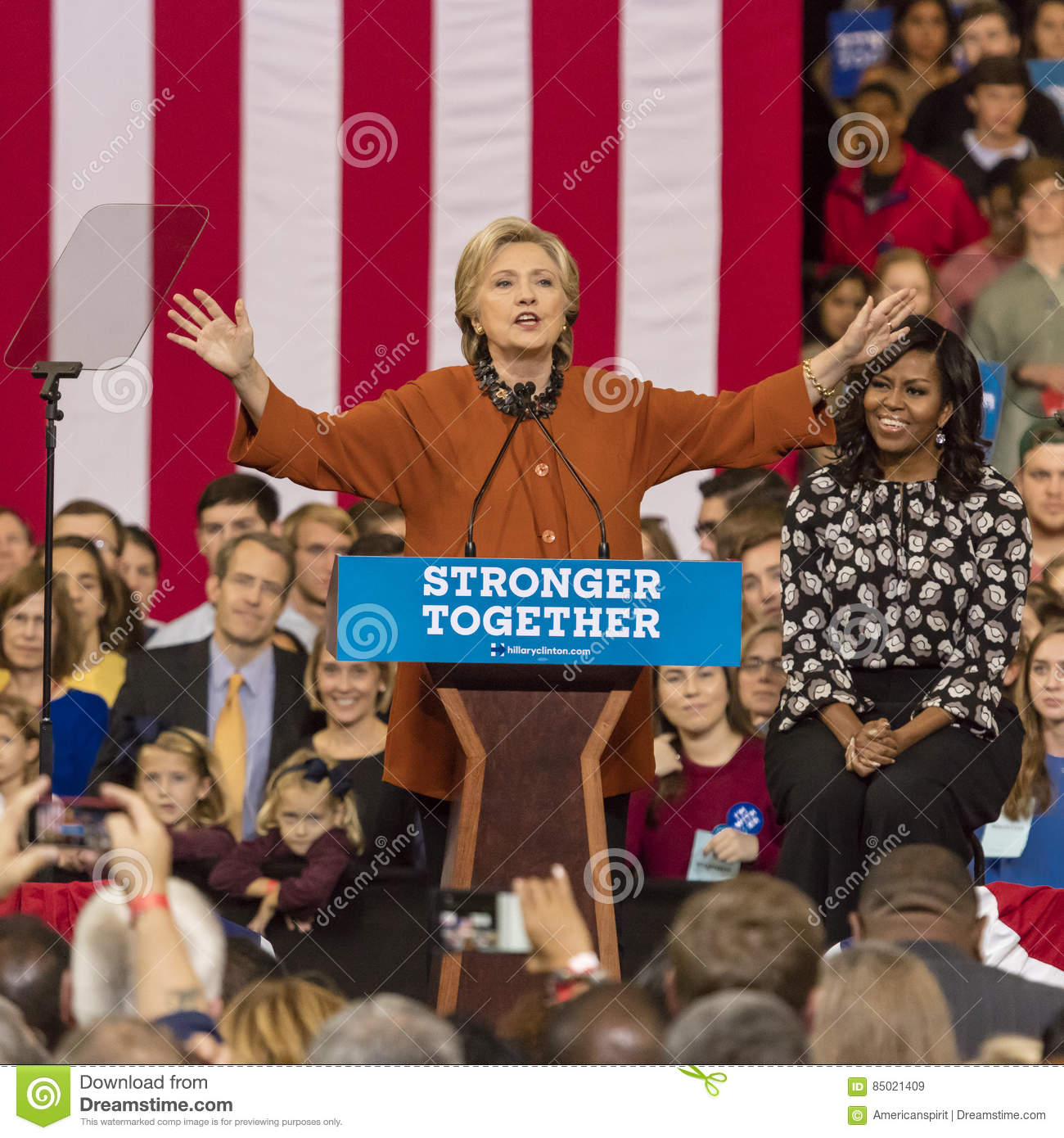 WINSTON-SALEM, NC - OCTOBER 27 , 2016: Democratic presidential candidate Hillary Clinton and US First Lady Michelle Obama appear a