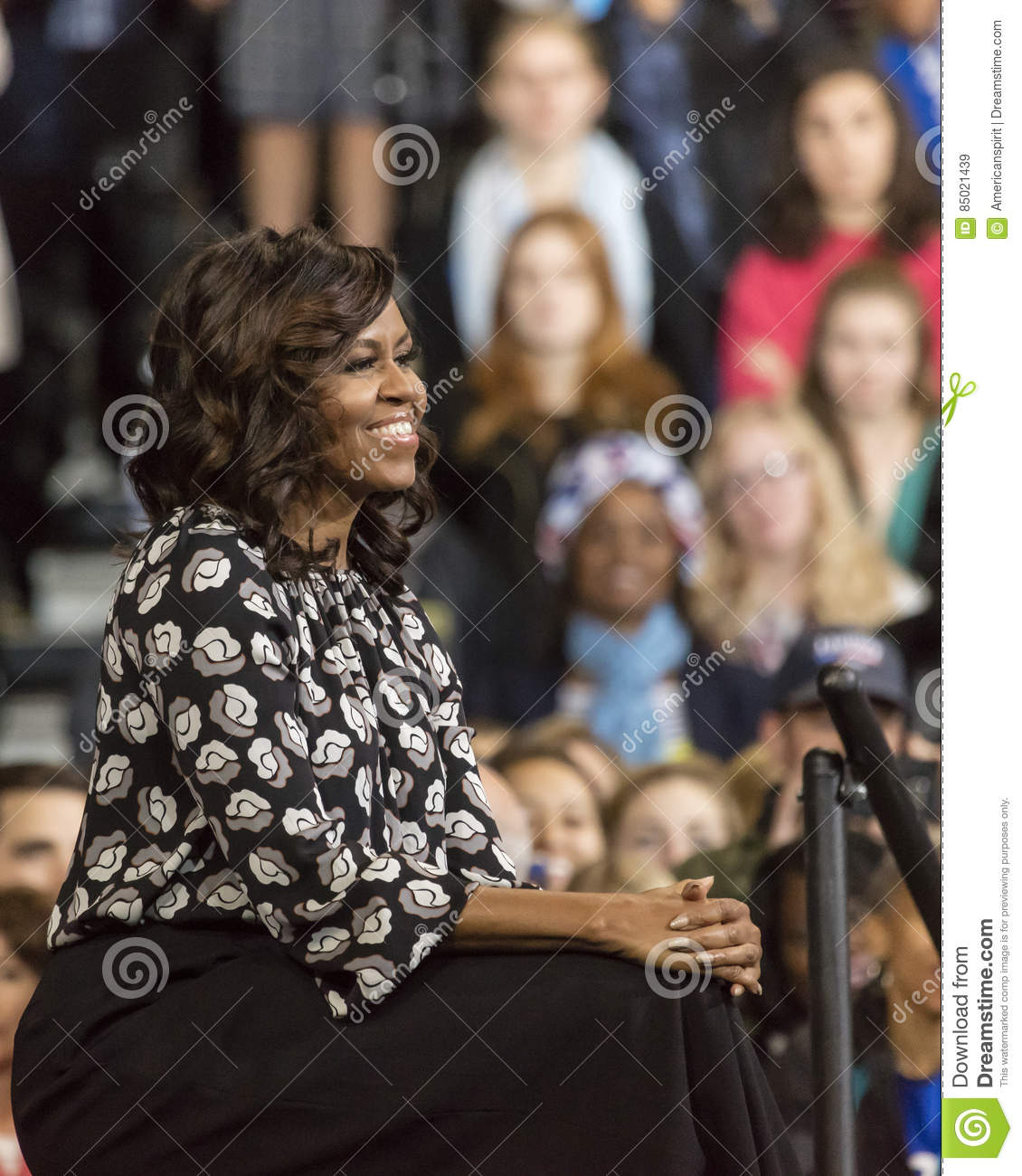 WINSTON-SALEM, NC - OCTOBER 27 , 2016: F irst Lady Michelle Obama appear at a presidential campaign event for Hillary Clinton s Pr