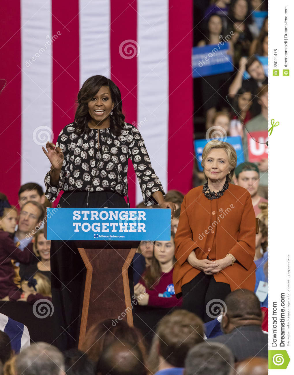 WINSTON-SALEM, NC - OCTOBER 27 , 2016: First Lady Michelle Obama introduces Democratic presidential candidate Hillary Clinton at a