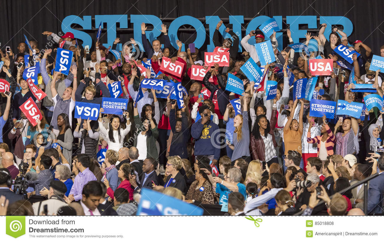 WINSTON-SALEM, NC - OCTOBER 27 , 2016: Supporters of Democratic presidential candidate Hillary Clinton and US First Lady Michelle