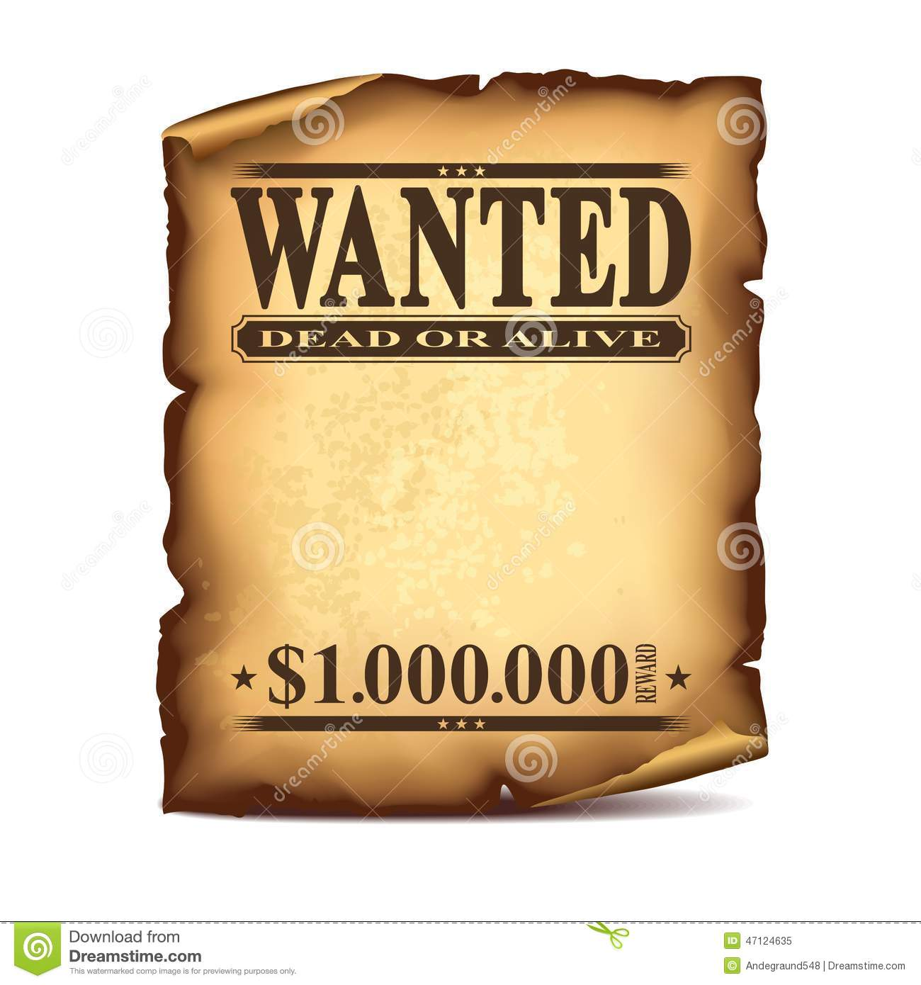 Vintage Wanted Poster Isolated On White Vector Stock Vector   Illustration  Of Western, Award: 47124635