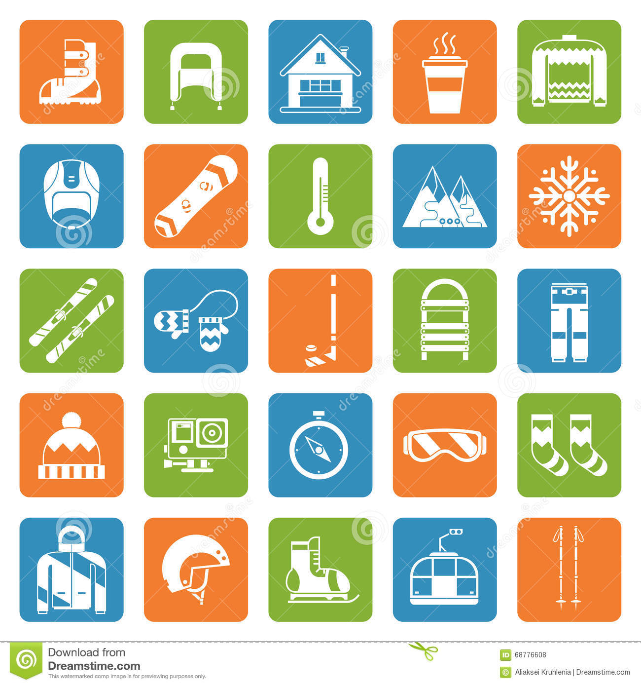 winter activity games and fun outline icon set stock vector