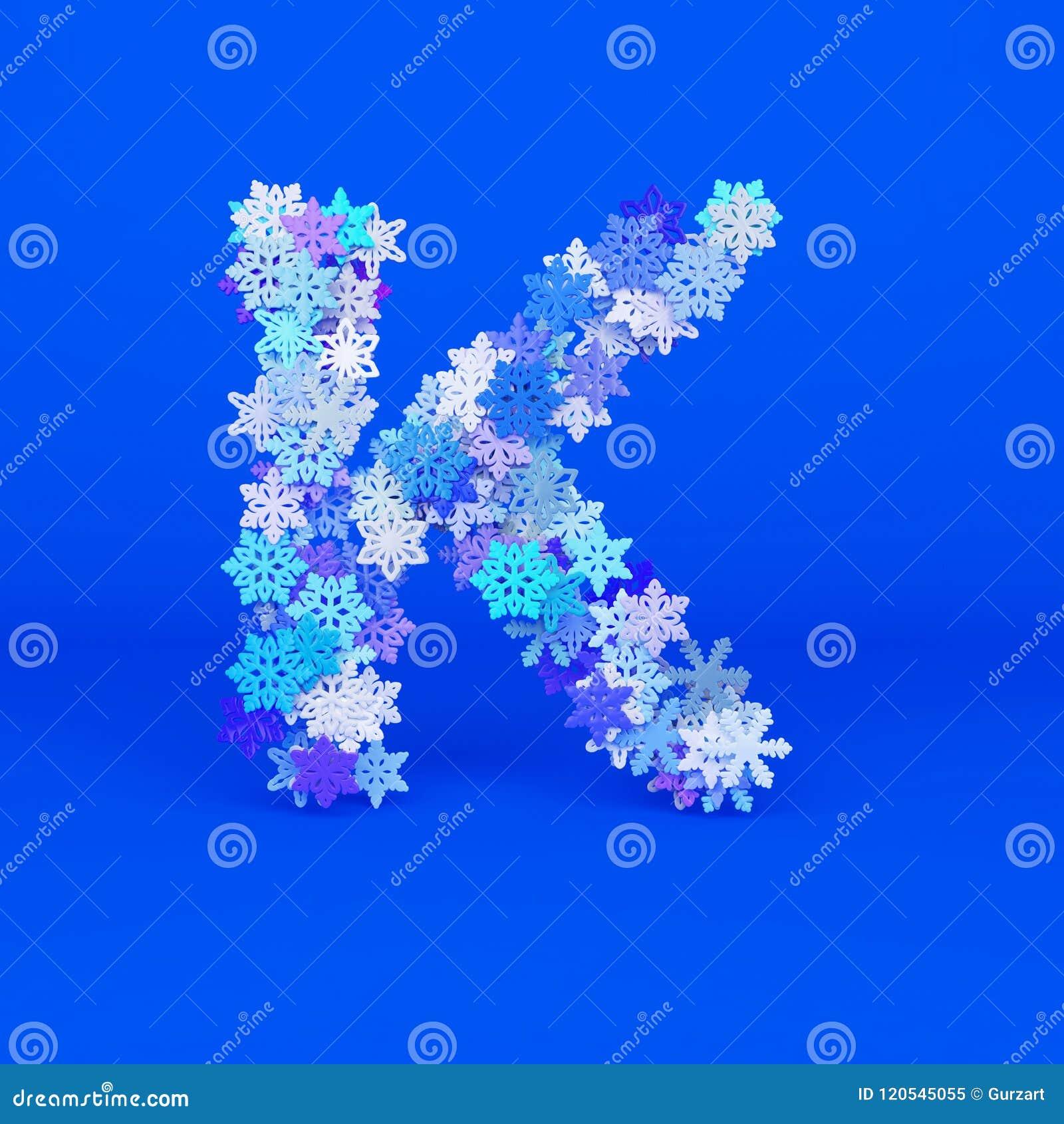Winter Alphabet Letter K Uppercase Christmas Font Made Of