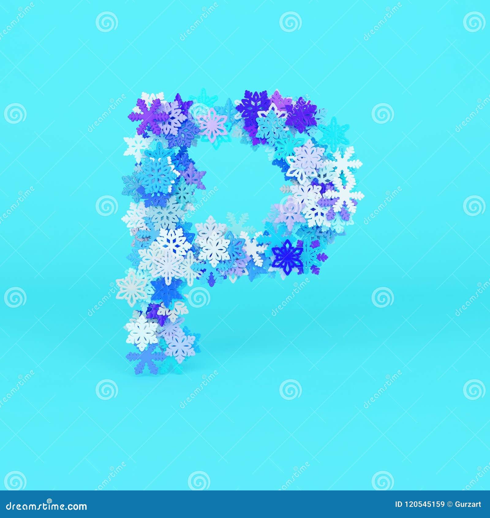 Winter Alphabet Letter P Uppercase Christmas Font Made Of