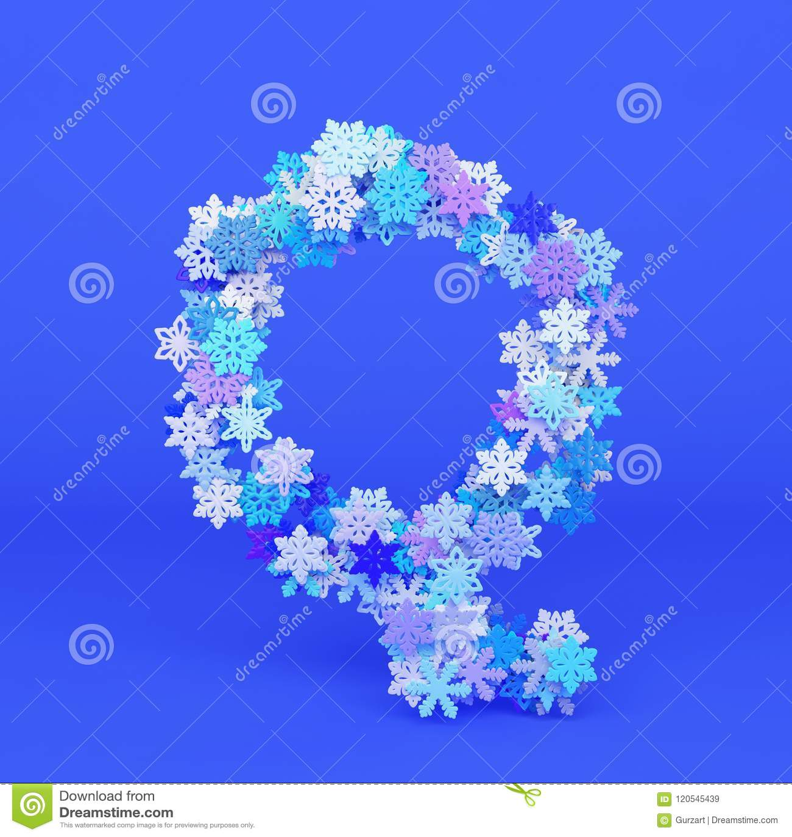 Winter Alphabet Letter Q Uppercase Christmas Font Made Of