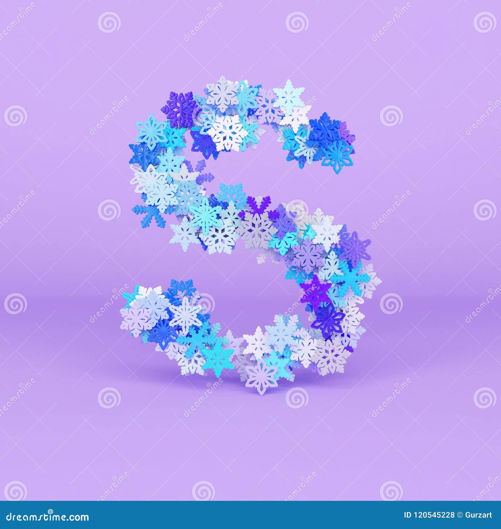 Winter Alphabet Letter S Uppercase Christmas Font Made Of