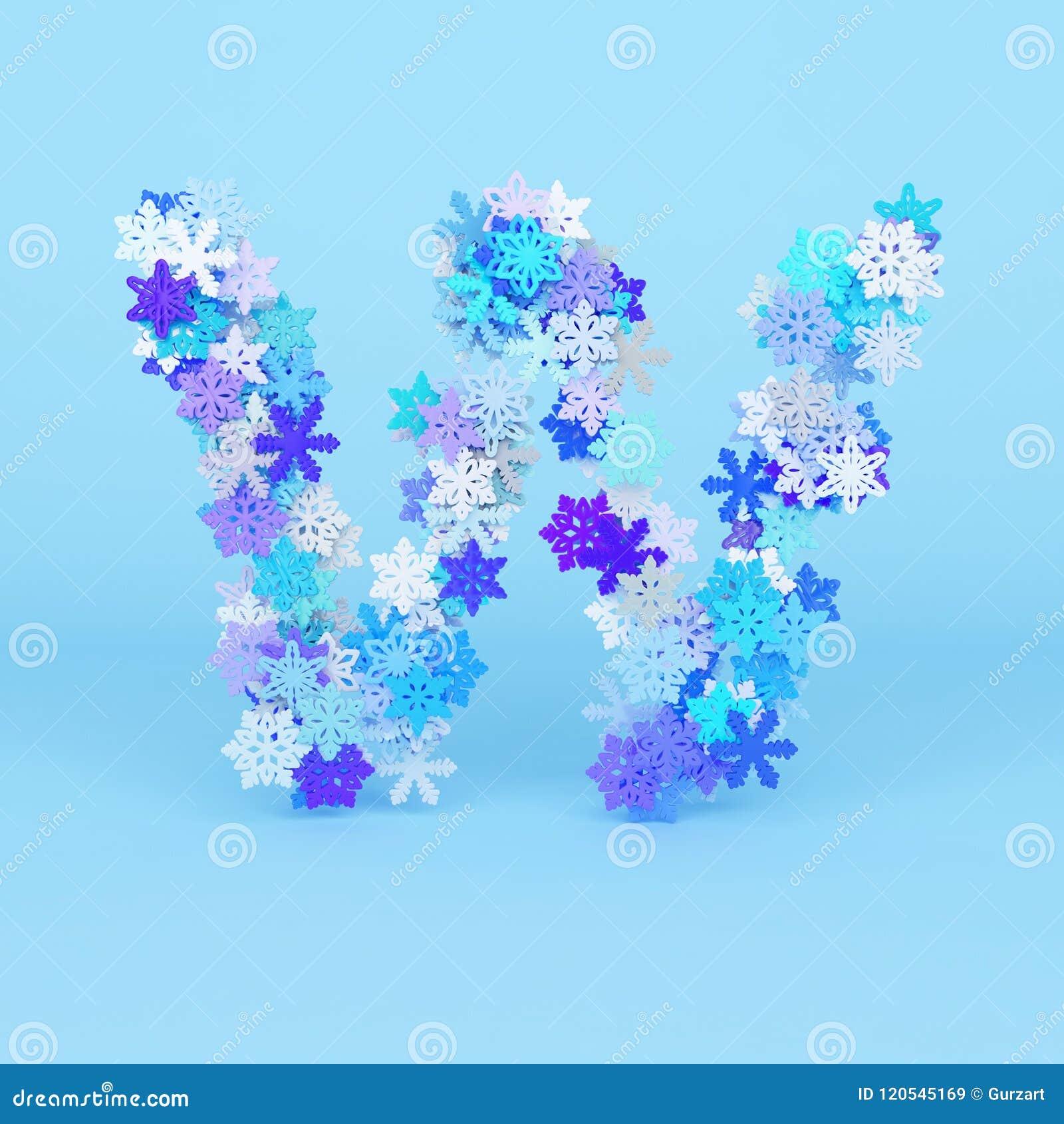 Winter Alphabet Letter W Uppercase Christmas Font Made Of