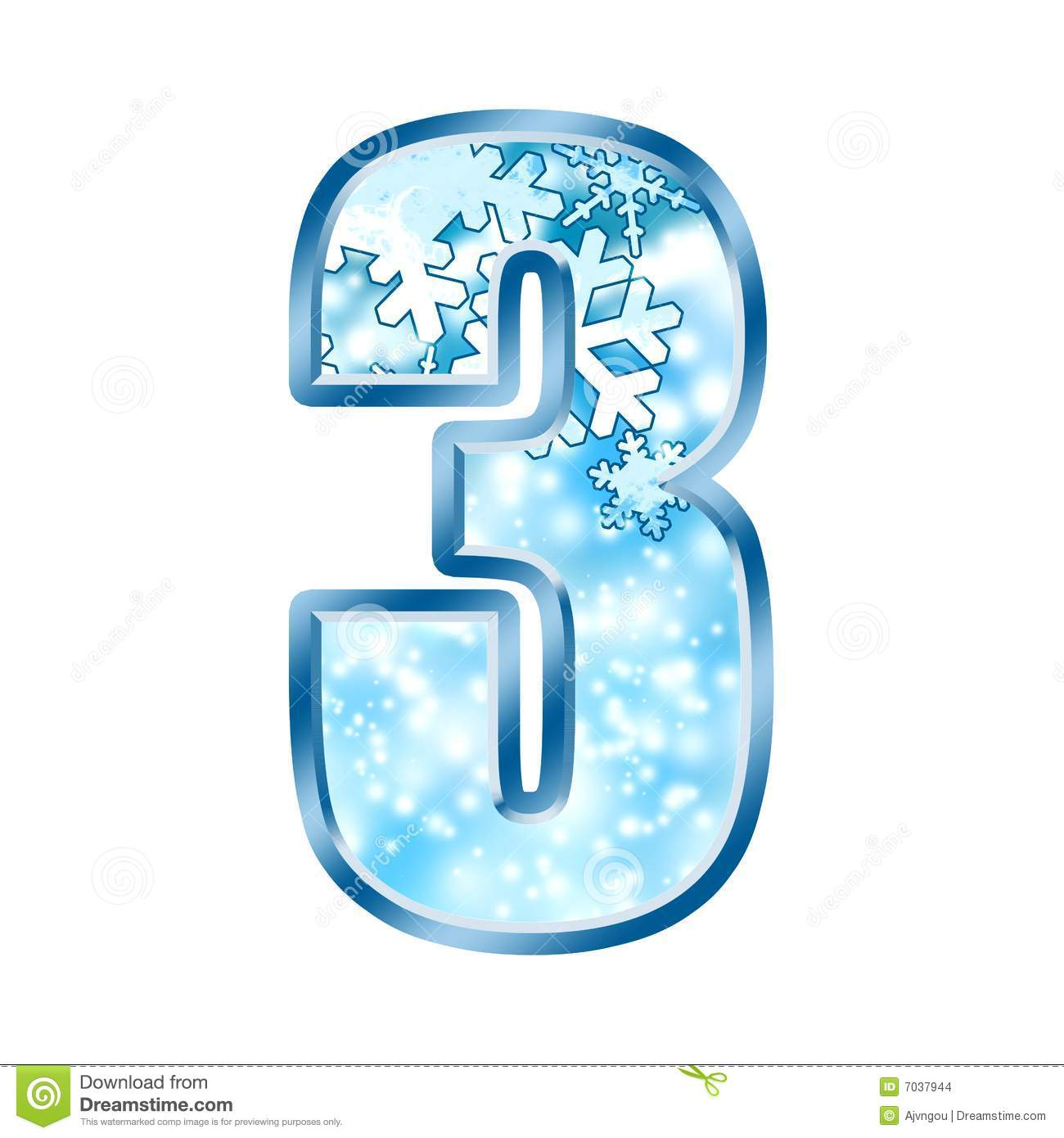 Winter Alphabet Number 3 Three Stock Illustration