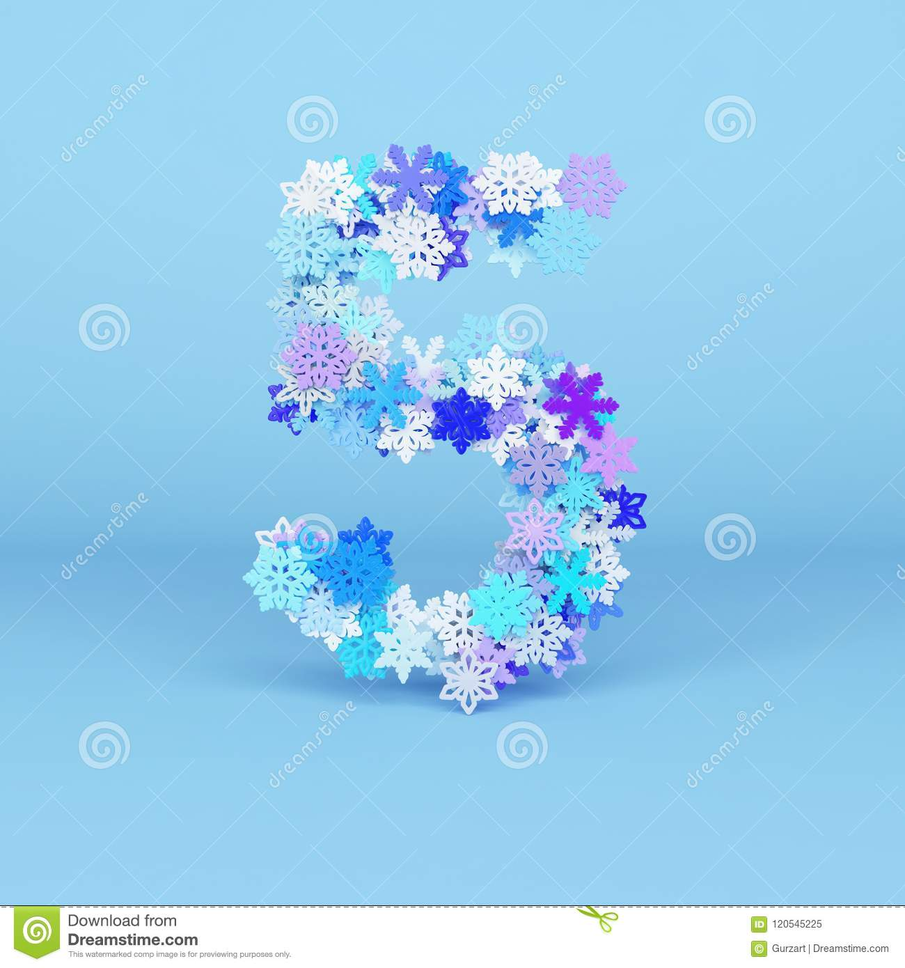 Winter Alphabet Number 5 Christmas Font Made Of Snowflakes 3d