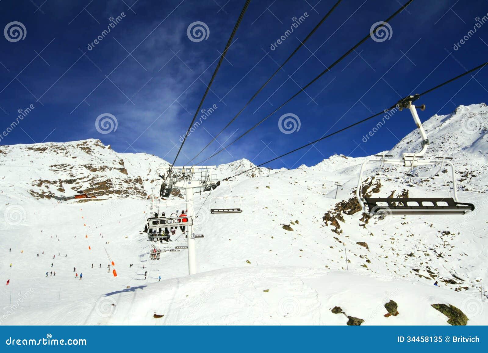 Winter Alpine lift