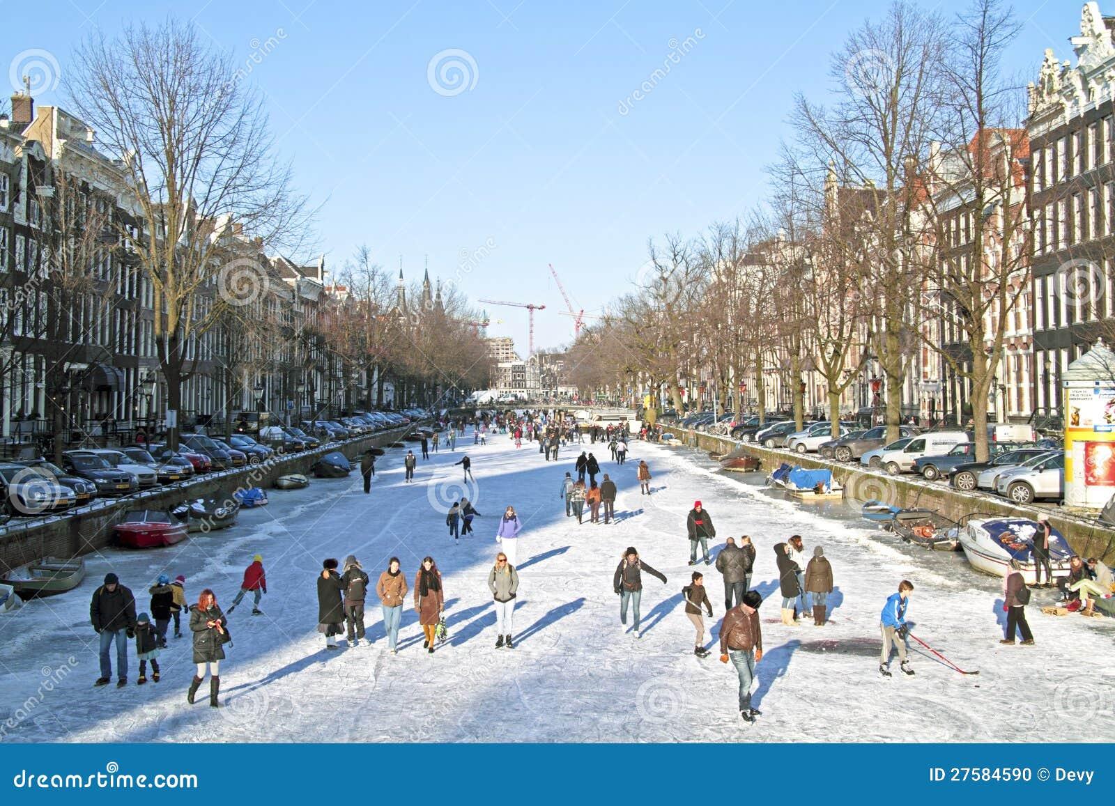 winter in amsterdam the netherlands editorial image. Black Bedroom Furniture Sets. Home Design Ideas
