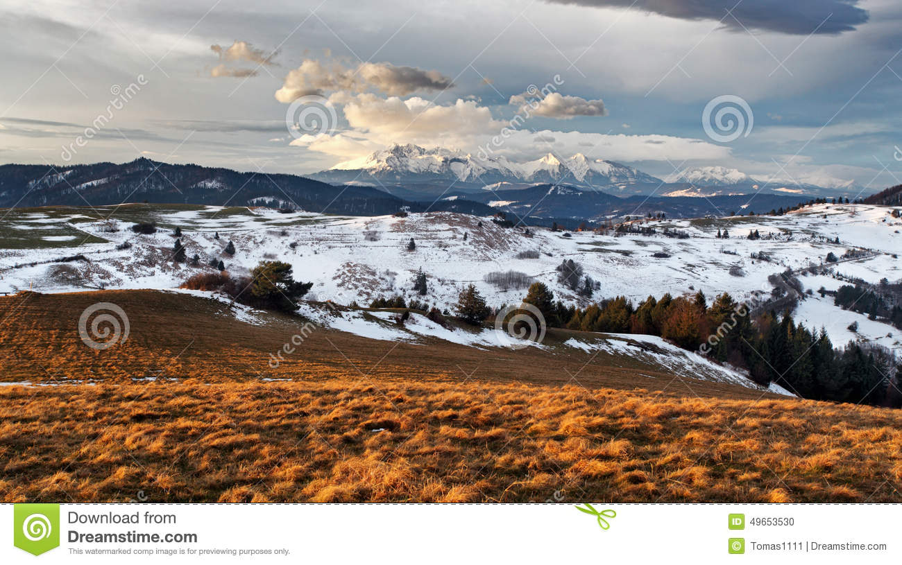 Winter Autumn Mountain Landscape In Slovakia Stock Photo Image Of Snowfall Forest 49653530