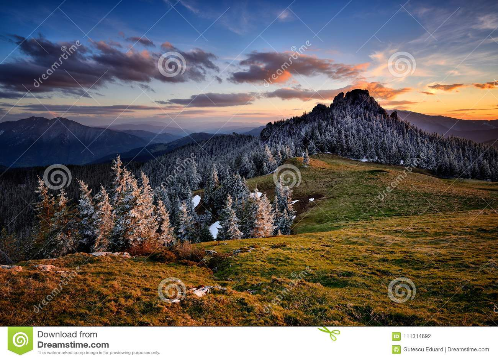 Winter scene in Romania , beautiful landscape of wild Carpathian mountains