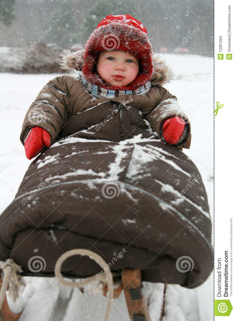 Winter Baby On Sled Stock Photo Image Of Child Dress