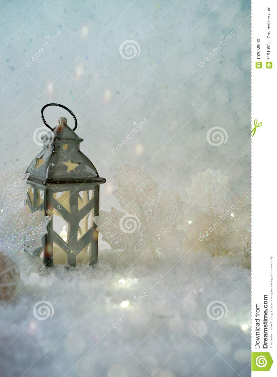 Winter background. Beautiful candlestick in the shape of a house