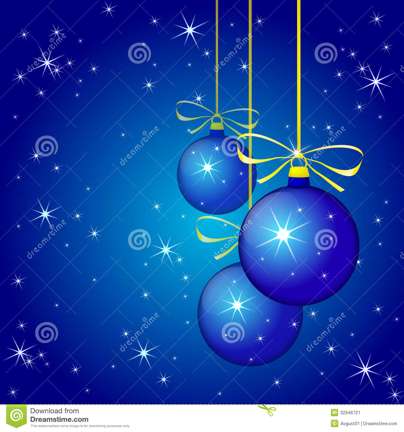 Blue Christmas Tree Wallpaper: Winter Background With Blue Christmas Balls. Vecto Stock