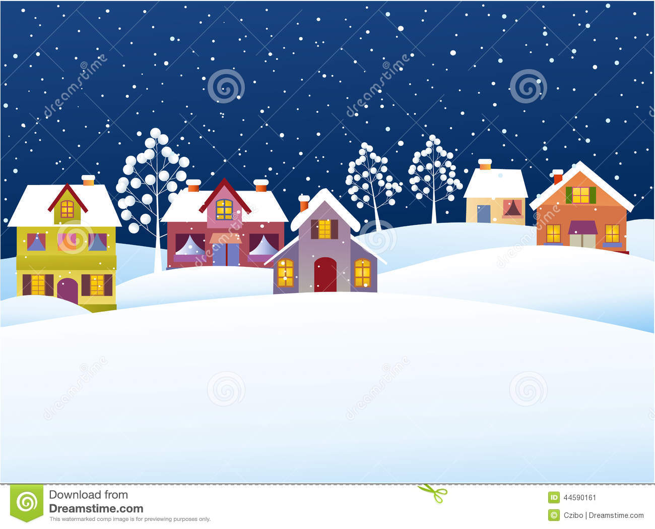 Winter Background With Cartoon Houses Stock Vector Image