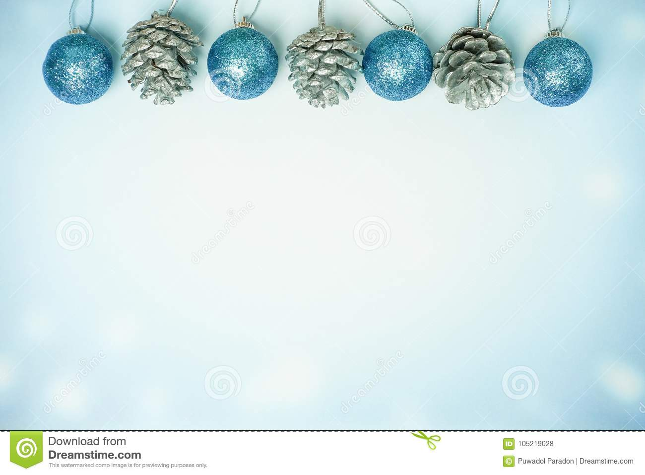 Cyan christmas ball and pine cone - Winter background