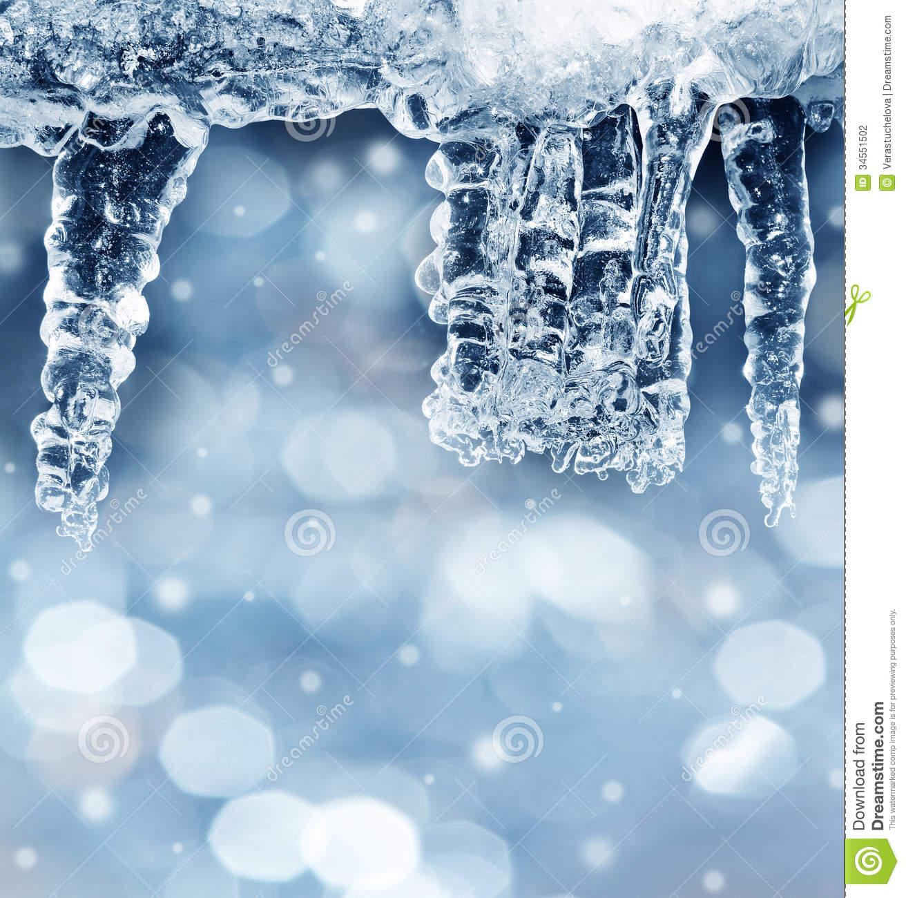 winter background with icicles stock photography