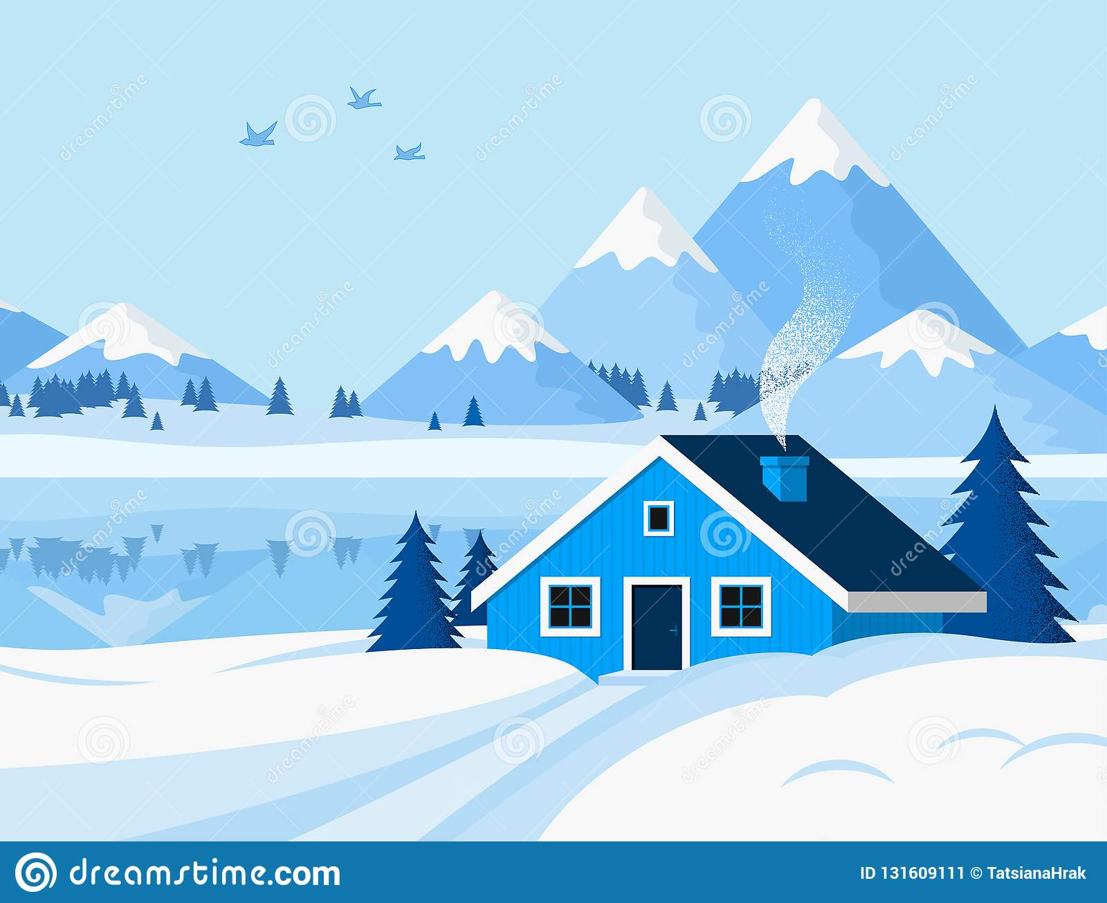 Winter Background With Mountain Landscape In Flat Style Stock
