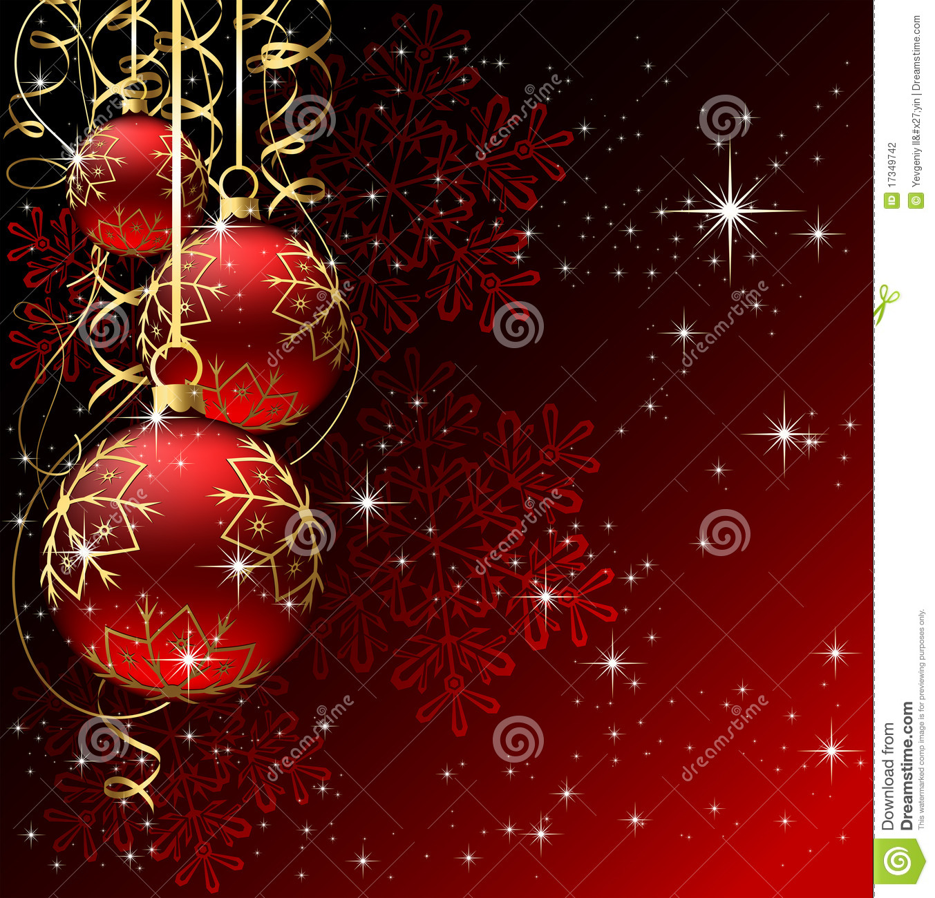Winter Background With Red Christmas Balls Stock Photography ...
