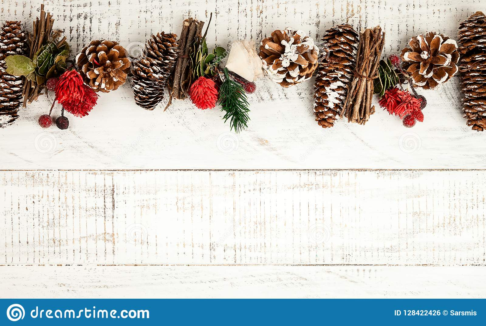 Winter Background With Rustic Christmas Garland Stock Photo Image Of Decorative Natura 128422426