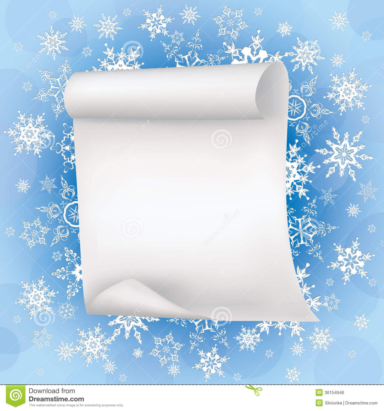 Winter Background With Sheet Of Paper And Snowflak Royalty