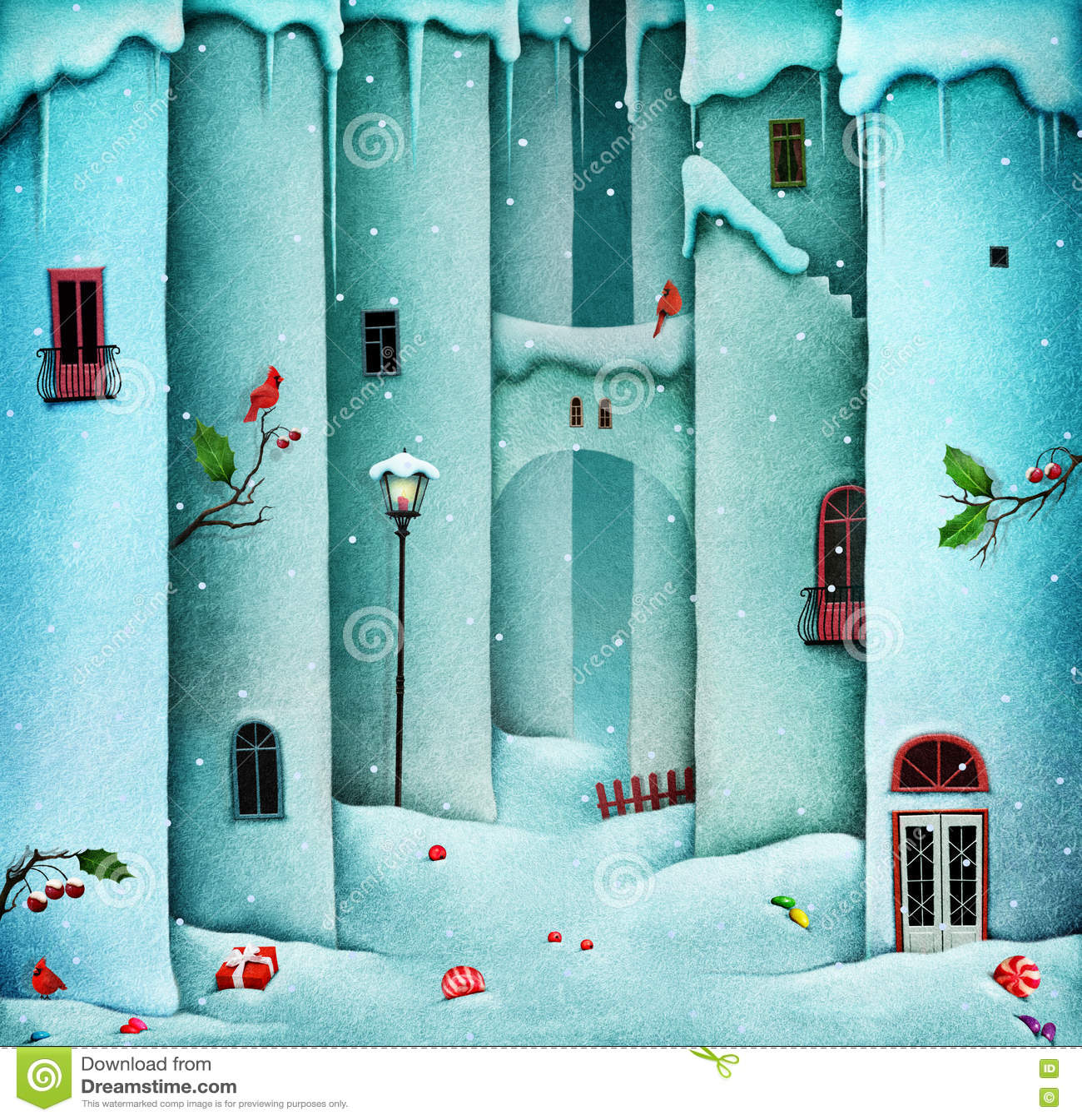 Winter Background Snow Wall Stock Illustration Illustration Of