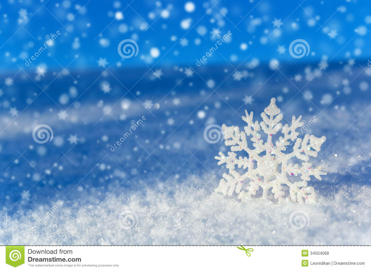 Beautiful Snowflake In The Sunlight: Winter Background. Stock Photo. Image Of Nature