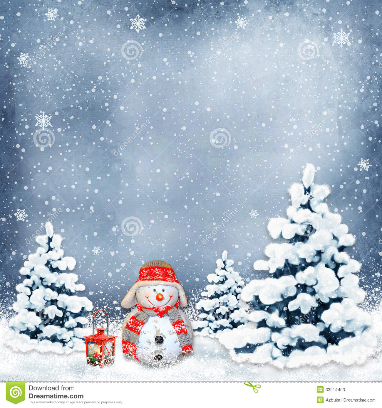 Winter Background With A Snowman And Christmas Trees Stock Photos - Image: 33914493