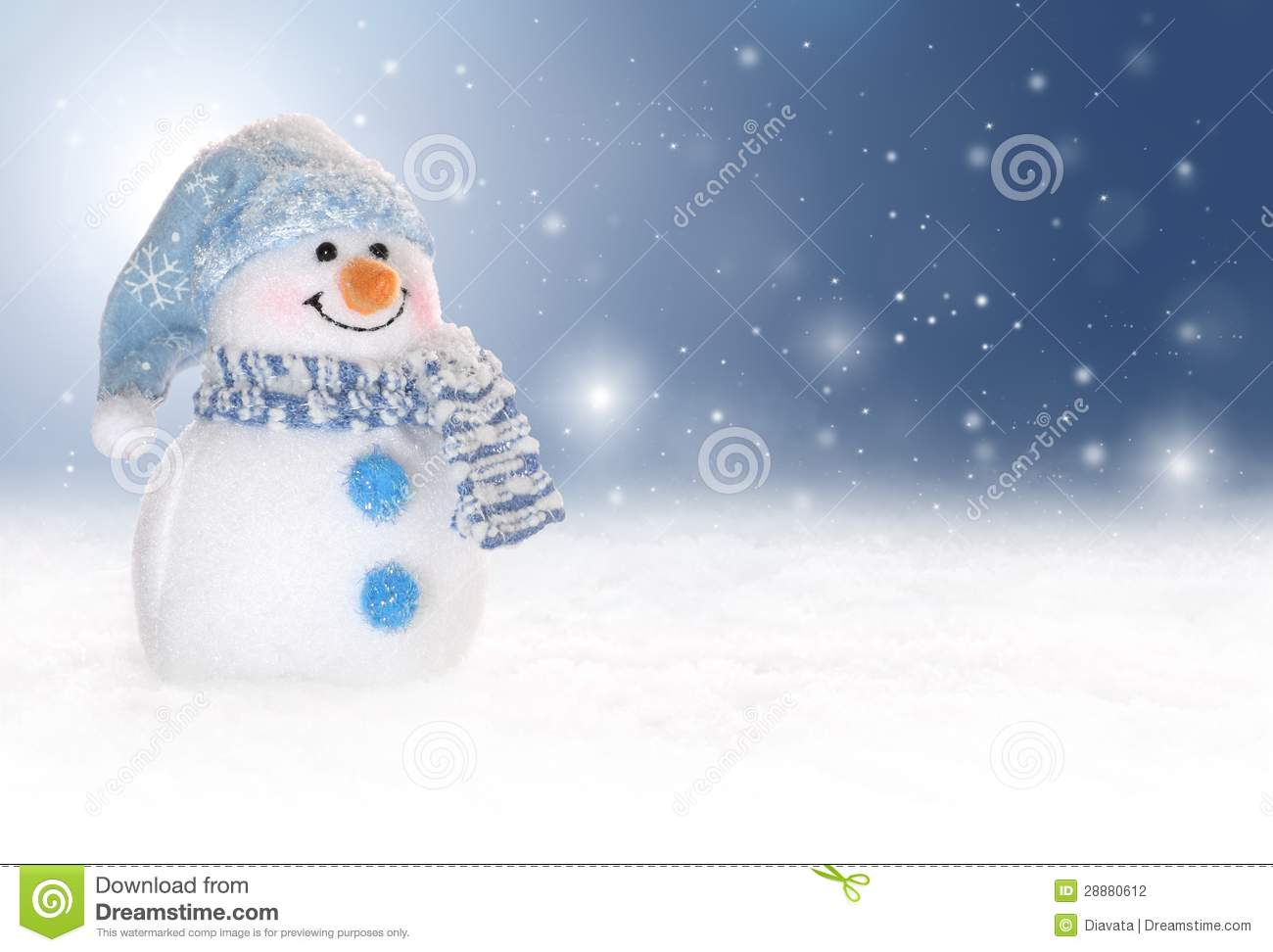 ... Photography: Winter background with a snowman, snow and snowflakes