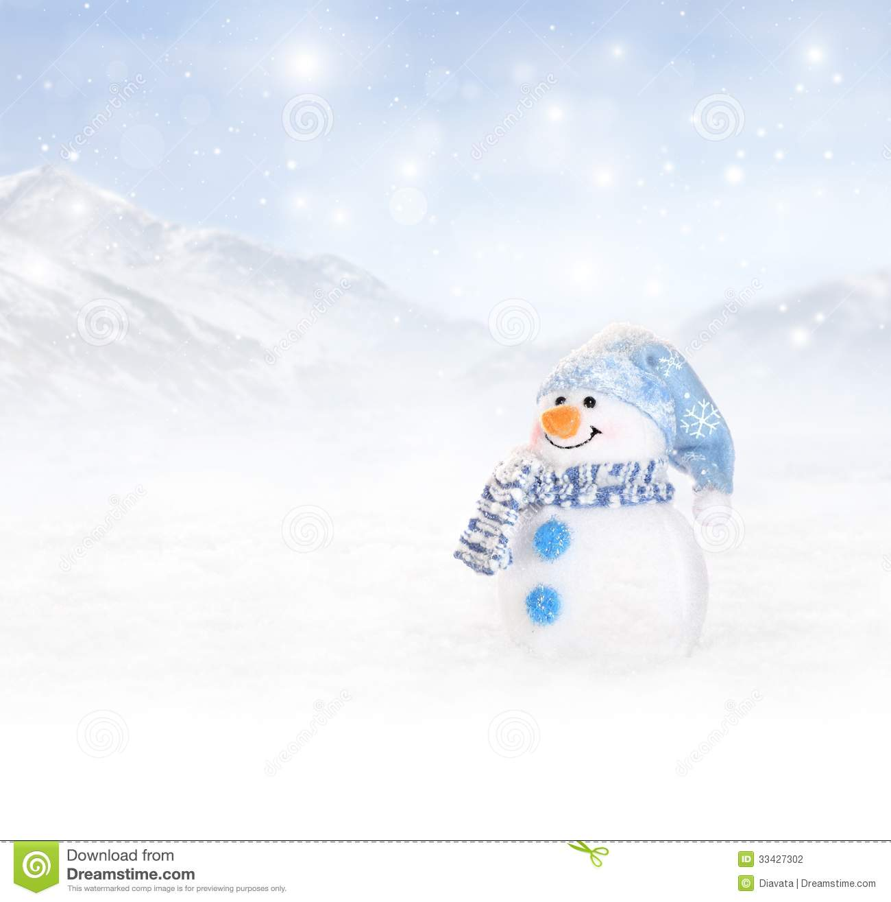 winter background with snowman stock photography image