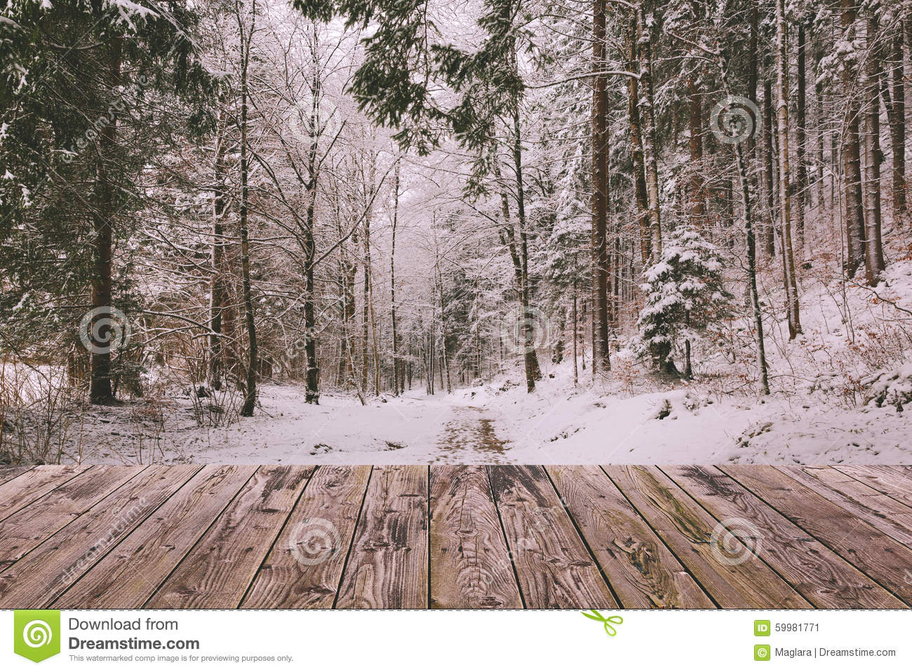 Winter background with wooden terrace and nature forest for Christmas landscape images