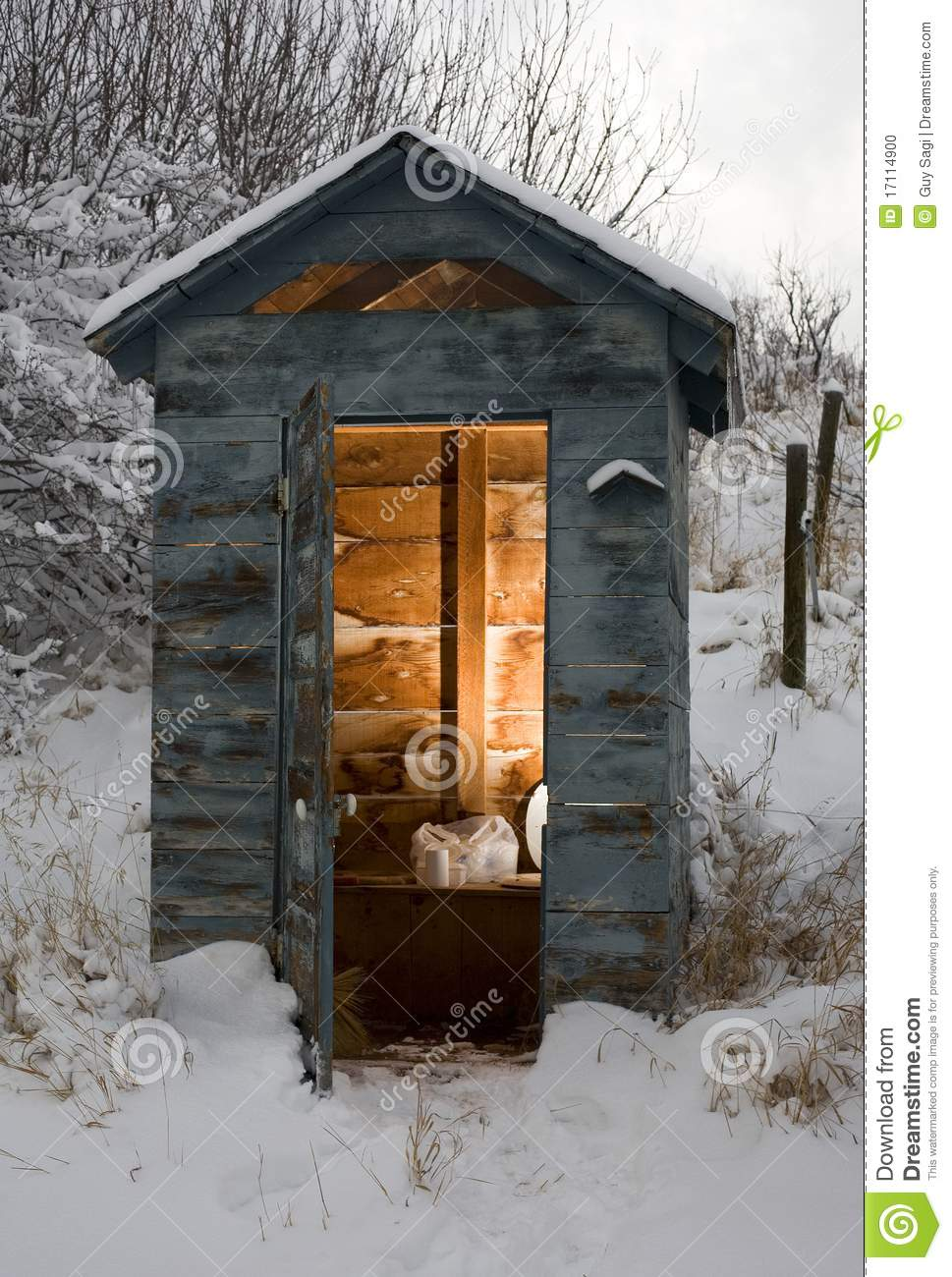 Winter Bathroom Stock Photo Image - Outhouse bathroom