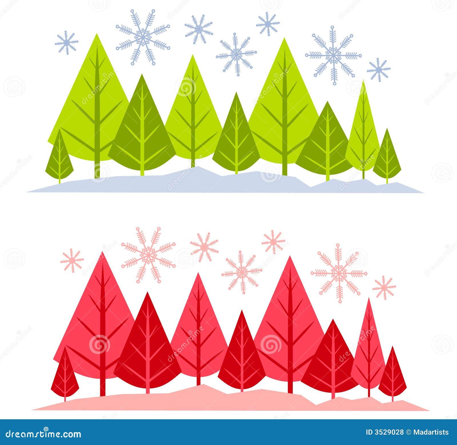 Winter-Baum-und Schnee-Szenen Stock Abbildung - Illustration von ...