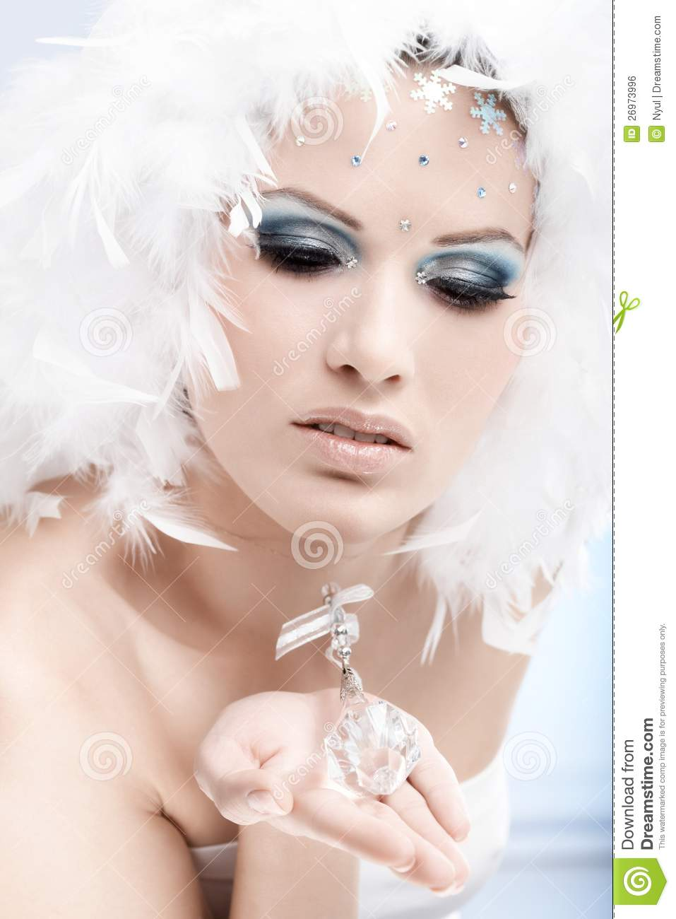 Winter Beauty With Crystal Gem Stock Photo