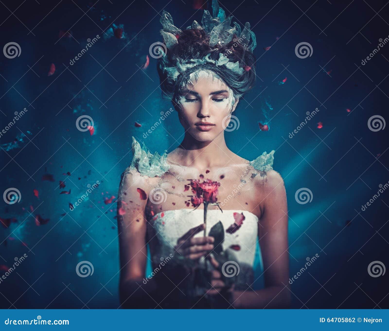 Winter beauty fantasy woman portrait.