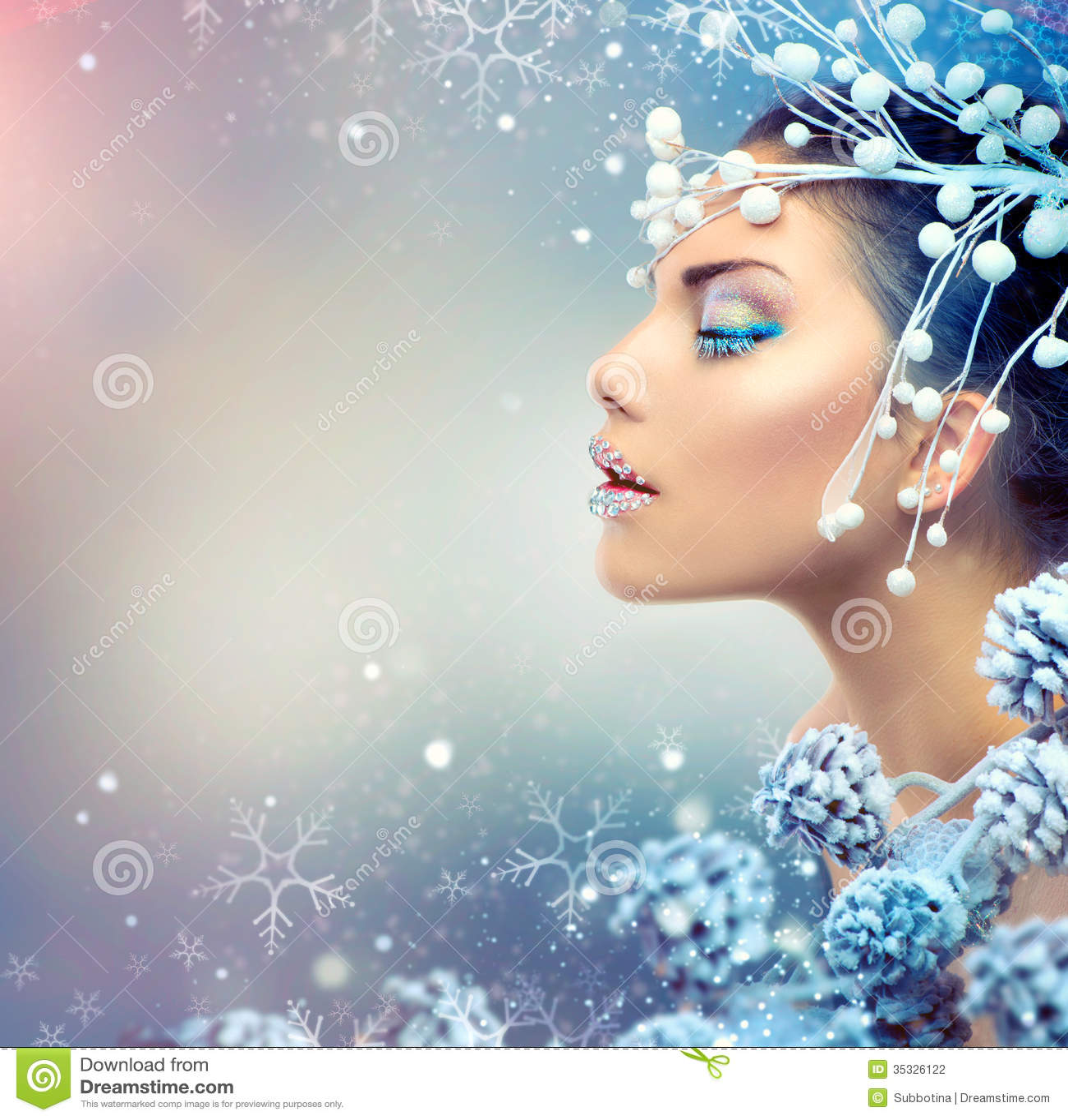 Winter Beauty Woman stock photo Image of jewelry up 35326122