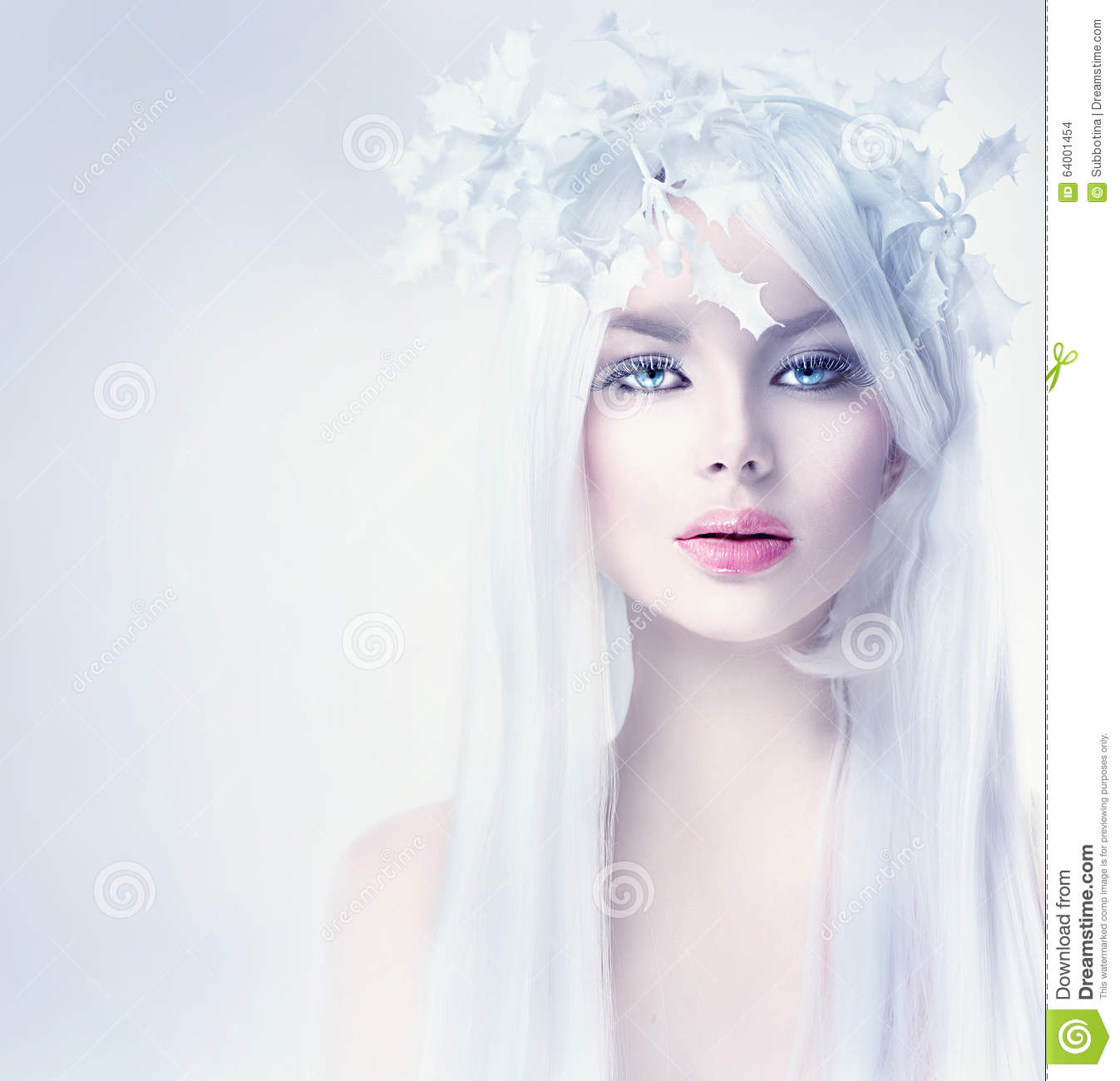 Winter Beauty Woman With Long White Hair Stock Photo