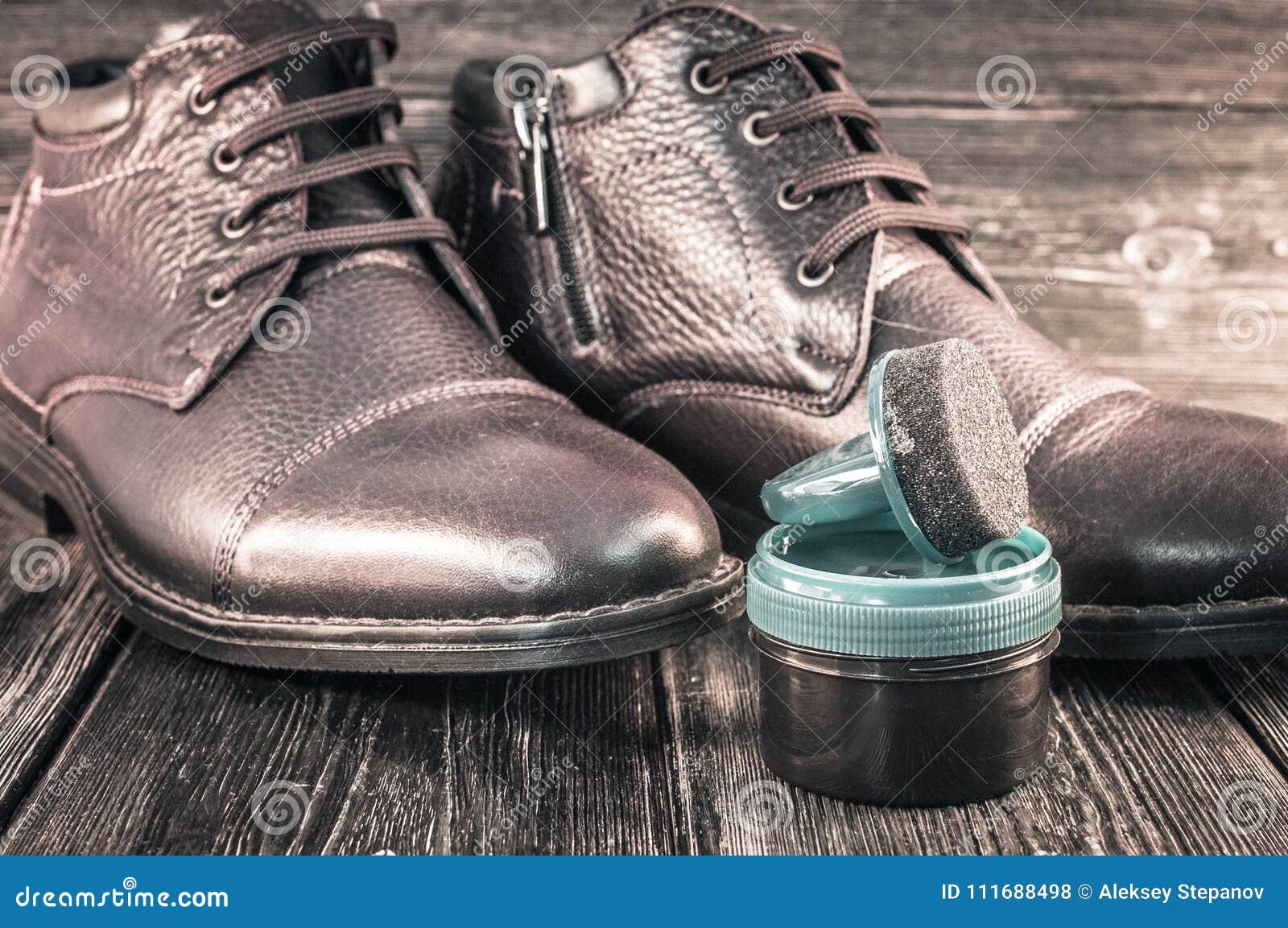 Winter Boots And Shoe Polish Stock Photo Image Of Clothing