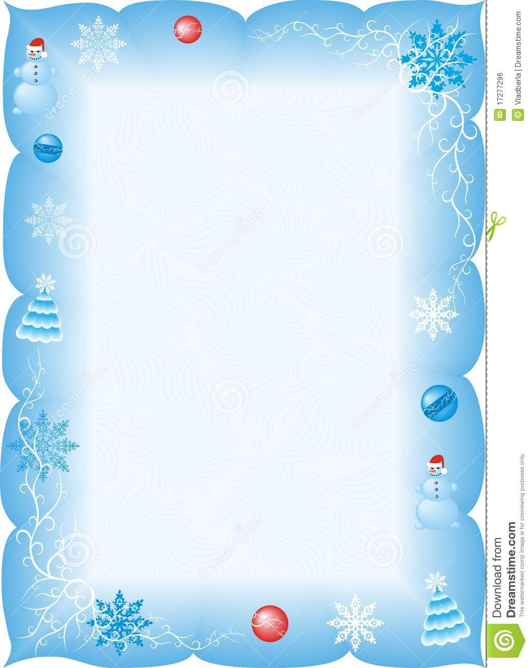 Frame with snowmen, Christmas decoration and frosty curls.