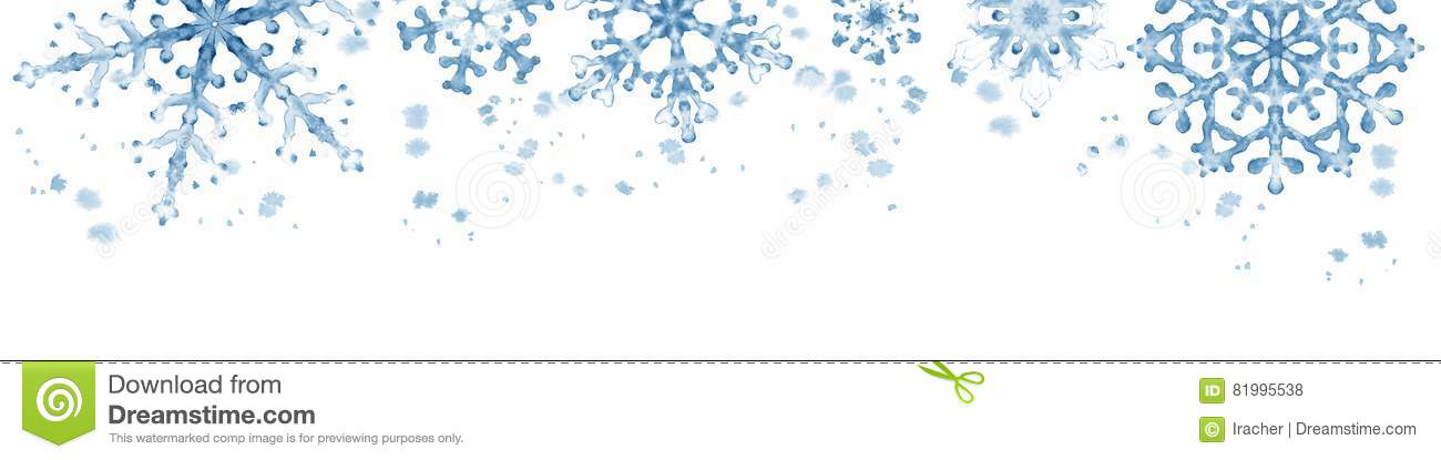 winter border with blue snowflakes on white background hand painted horizontal illustration
