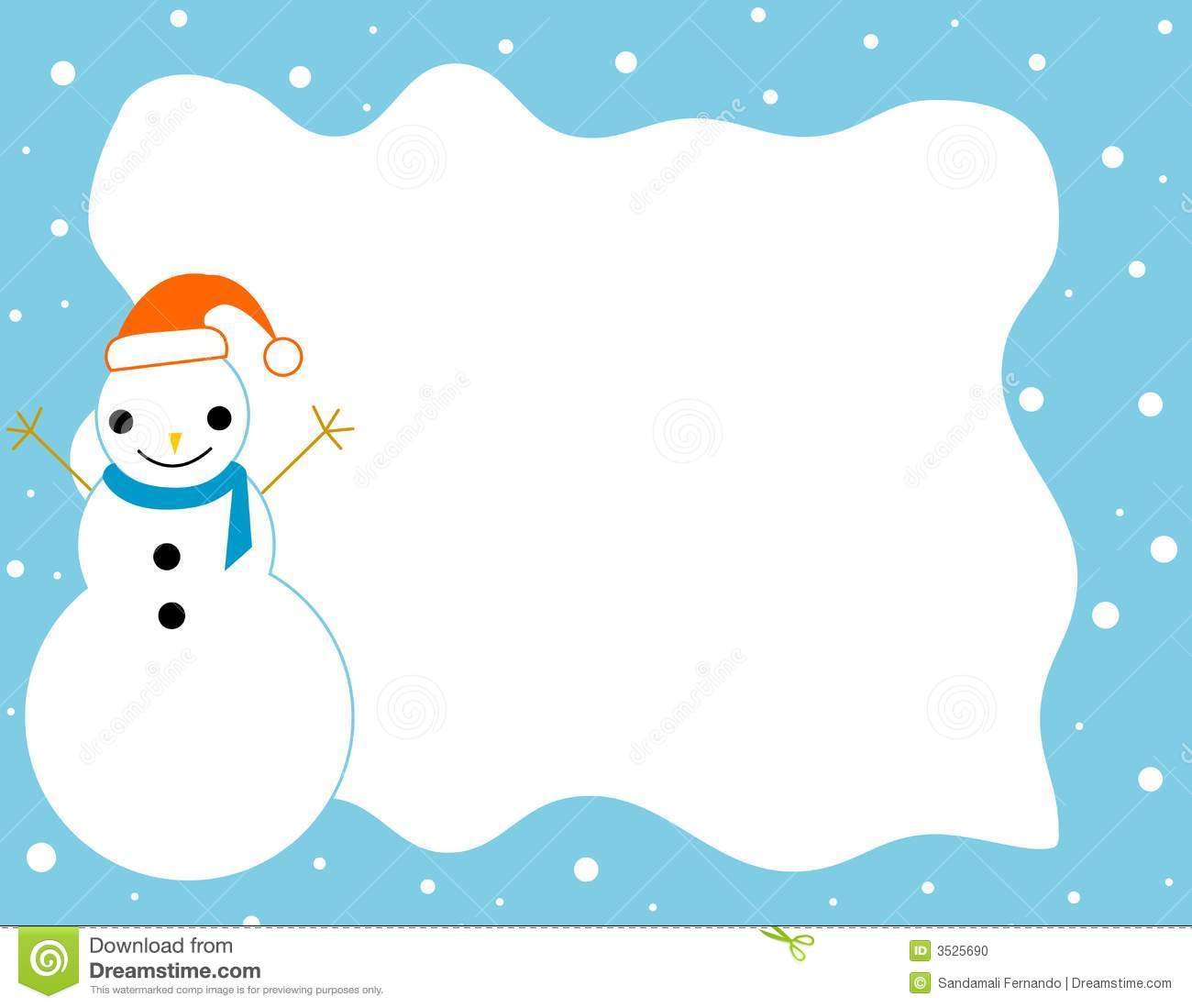 Clean blue snowman and falling snow Christmas border / frame.