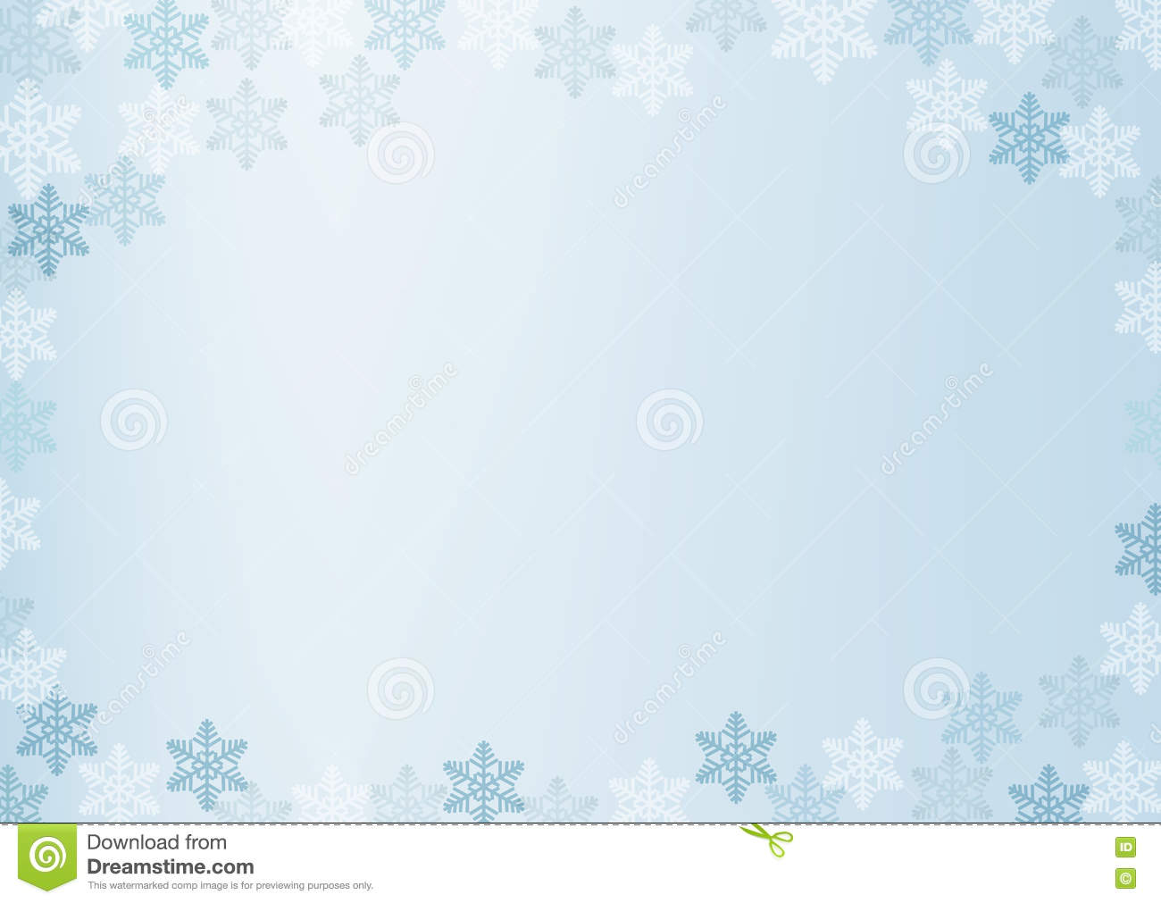 winter border with white and blue snowflakes on blue blurred soft background christmas and new