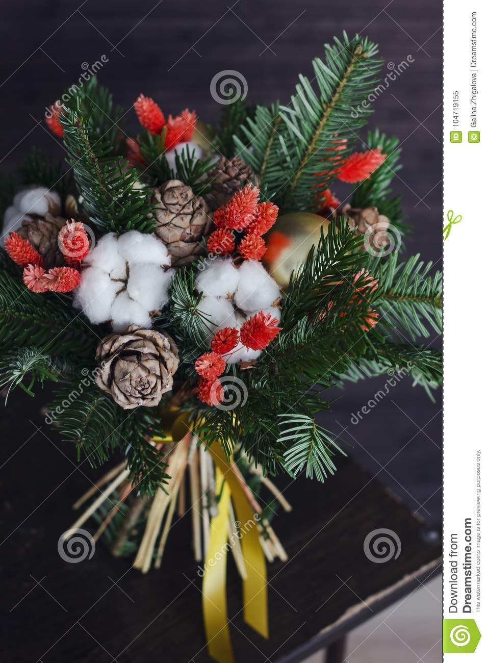 The Winter Bouquet Made Of Fir Branches Christmas Balls And Dried Flowers Stock Image Image Of Cotton Handmade 104719155