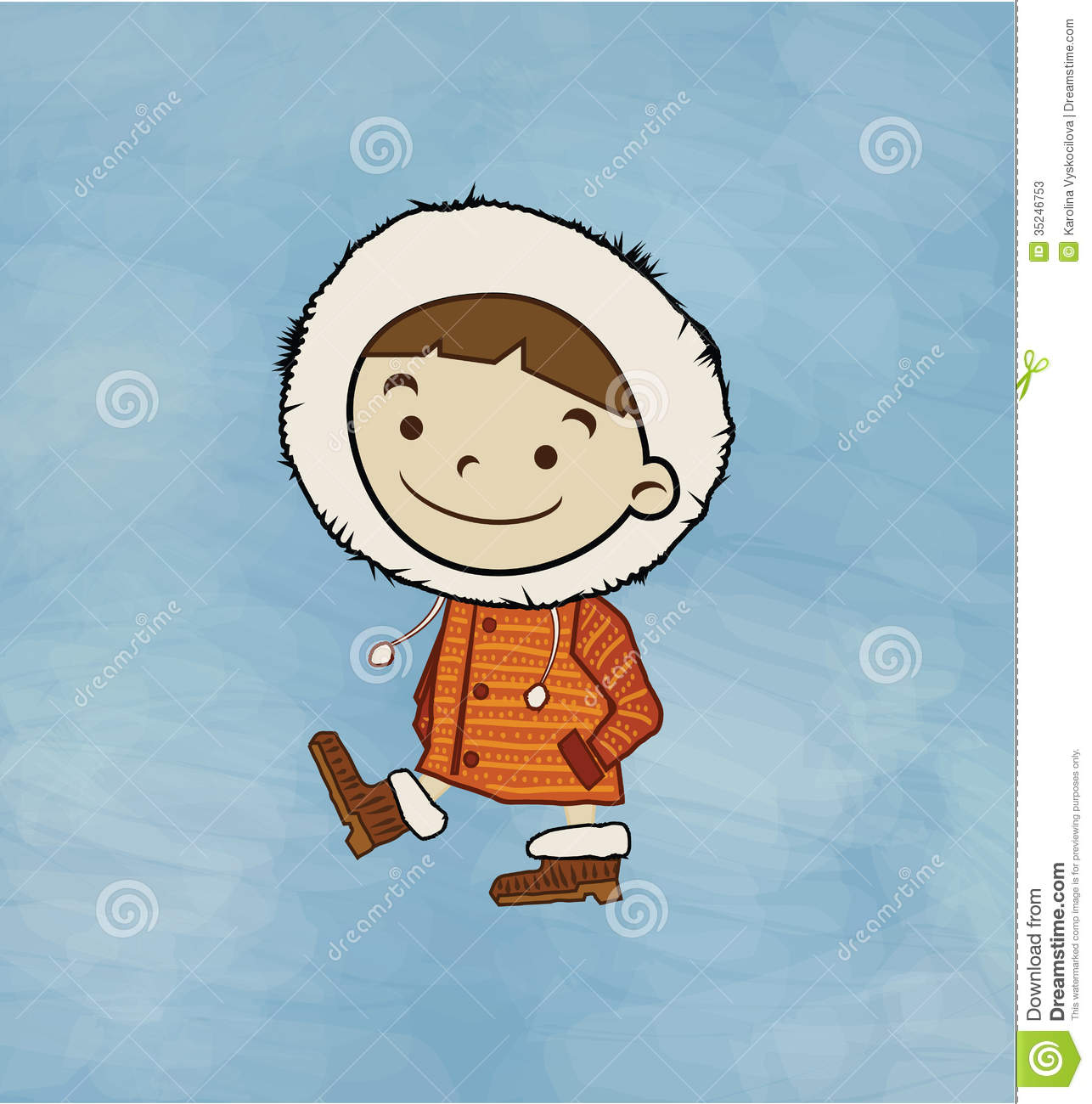 Winter Boy Stock Vector Image Of Cute Background
