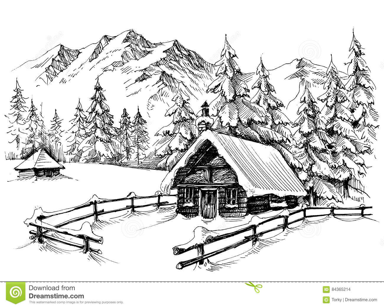 Winter cabin drawing stock vector image of idyllic Cabin drawings